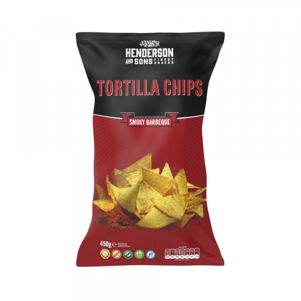 HENDERSON & SONS Smoky Barbeque Tortilla Chips 450g